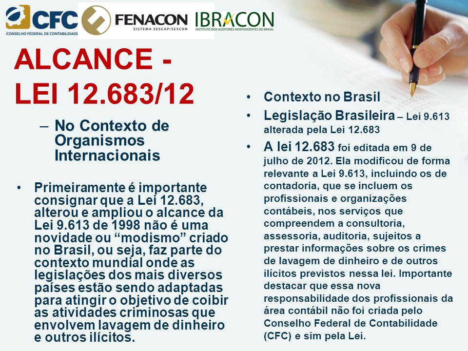 ALCANCE - LEI 12.683/12 –No Contexto de Organismos Internacionais Primeiramente é importante consignar que a Lei 12.683, alterou e ampliou o alcance d