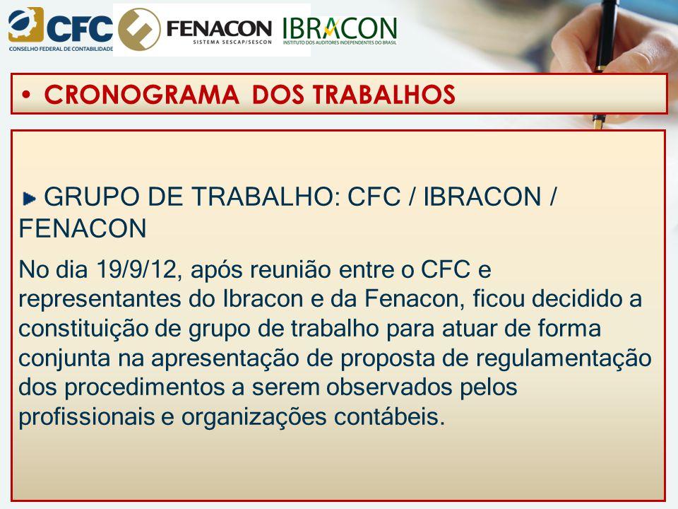 GRUPO DE TRABALHO: CFC / IBRACON / FENACON No dia 19/9/12, após reunião entre o CFC e representantes do Ibracon e da Fenacon, ficou decidido a constit