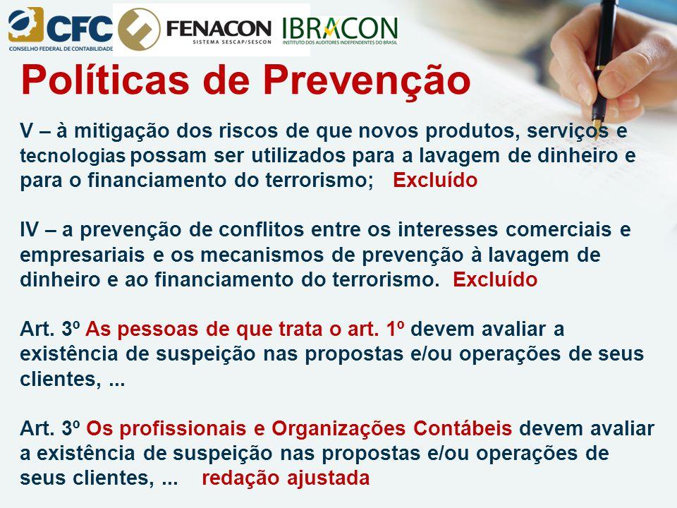 Políticas de Prevenção V – à mitigação dos riscos de que novos produtos, serviços e tecnologias possam ser utilizados para a lavagem de dinheiro e par