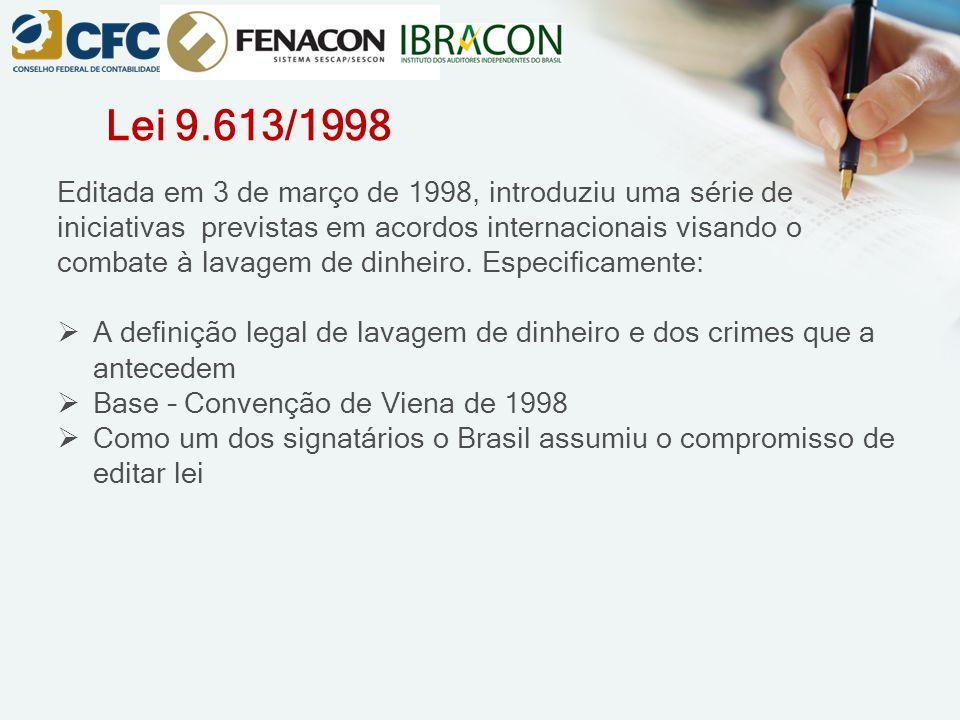 Lei 9.613/1998 Editada em 3 de março de 1998, introduziu uma série de iniciativas previstas em acordos internacionais visando o combate à lavagem de d