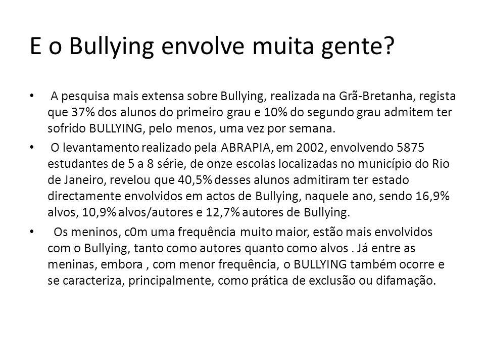 bullying É uma forma de violência verbal e psicológica, usada por crianças ou adolescentes, com a intenção de humilhar, envergonhar, atormentar, ou incomodar outras crianças ou adolescentes, indefesos (embora por vezes os papeis se invertam e o agressor passe a vítima).