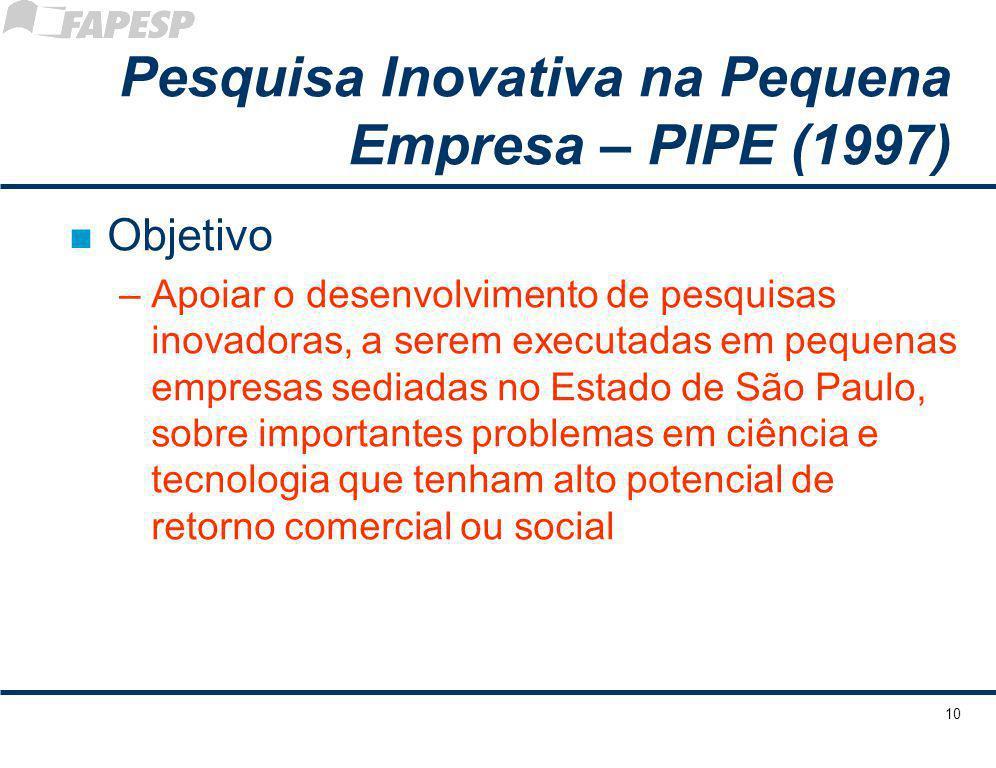 10 Pesquisa Inovativa na Pequena Empresa – PIPE (1997) n Objetivo –Apoiar o desenvolvimento de pesquisas inovadoras, a serem executadas em pequenas em