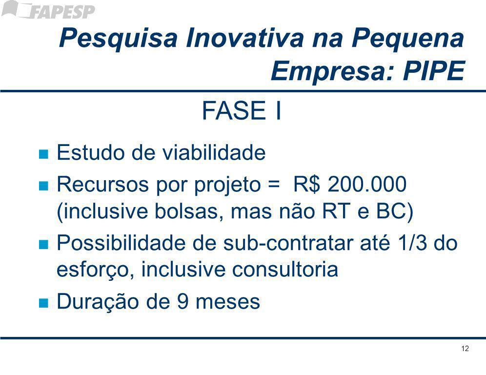 12 n Estudo de viabilidade n Recursos por projeto = R$ 200.000 (inclusive bolsas, mas não RT e BC) n Possibilidade de sub-contratar até 1/3 do esforço