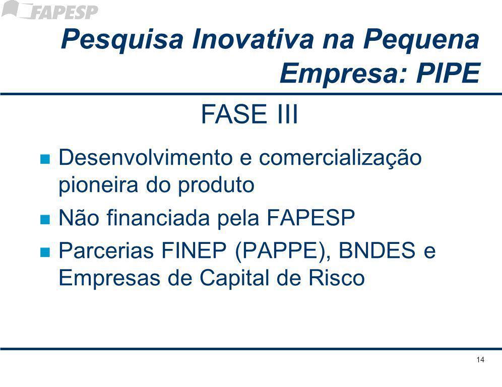 14 Pesquisa Inovativa na Pequena Empresa: PIPE n Desenvolvimento e comercialização pioneira do produto n Não financiada pela FAPESP n Parcerias FINEP (PAPPE), BNDES e Empresas de Capital de Risco FASE III