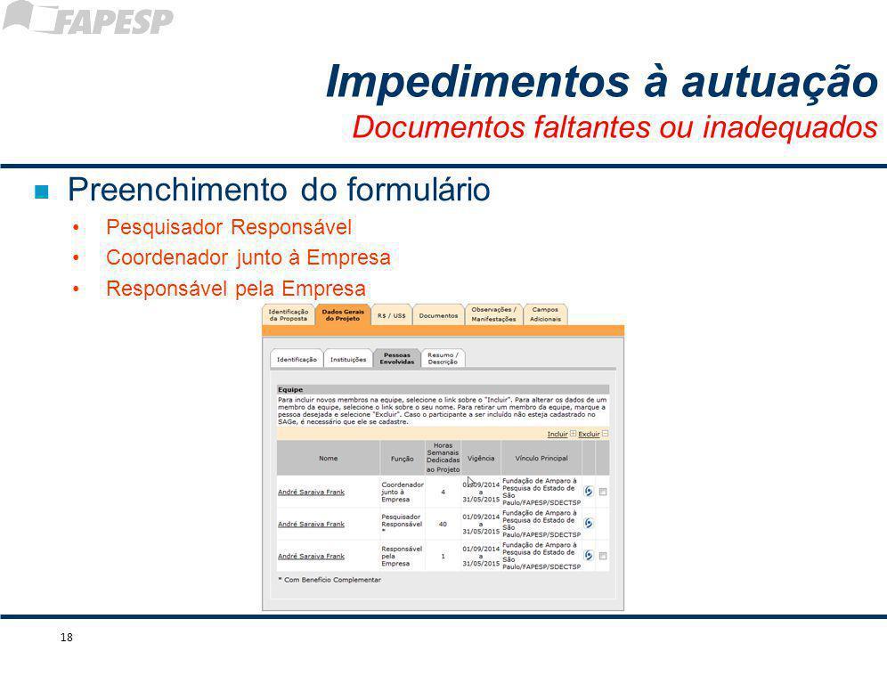 n Preenchimento do formulário Pesquisador Responsável Coordenador junto à Empresa Responsável pela Empresa 18 Impedimentos à autuação Documentos falta