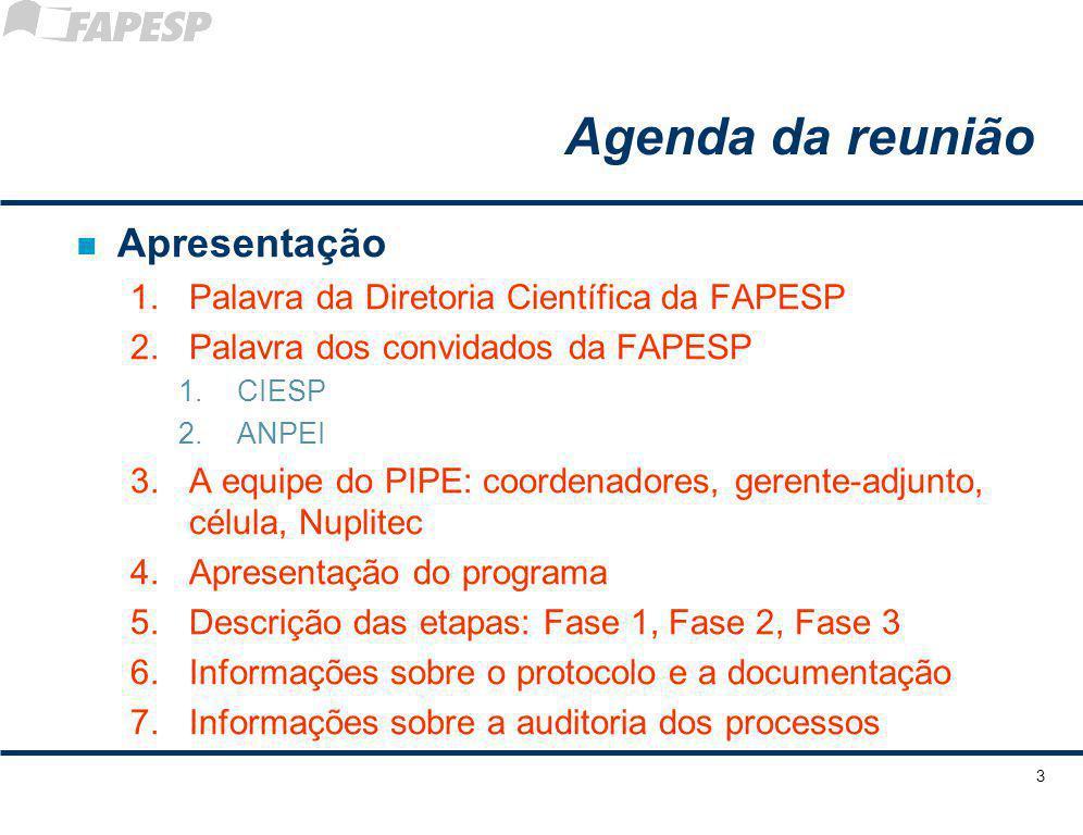 Agenda da reunião n Apresentação 1.Palavra da Diretoria Científica da FAPESP 2.Palavra dos convidados da FAPESP 1.CIESP 2.ANPEI 3.A equipe do PIPE: co
