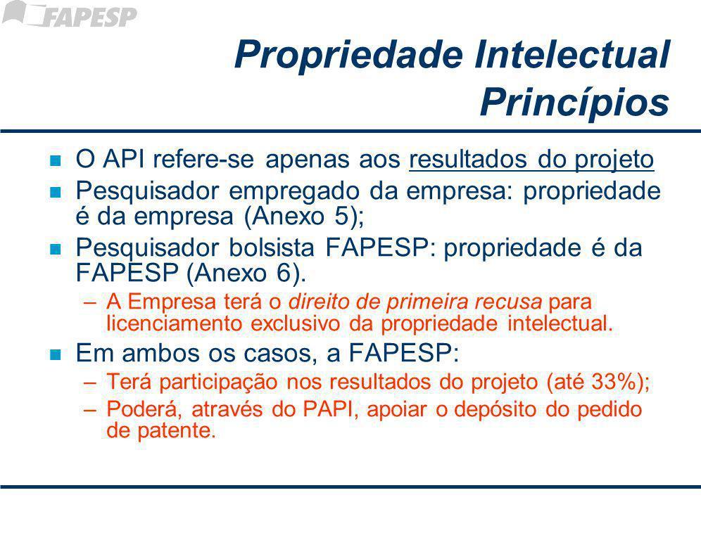 Propriedade Intelectual Princípios n O API refere-se apenas aos resultados do projeto n Pesquisador empregado da empresa: propriedade é da empresa (Anexo 5); n Pesquisador bolsista FAPESP: propriedade é da FAPESP (Anexo 6).