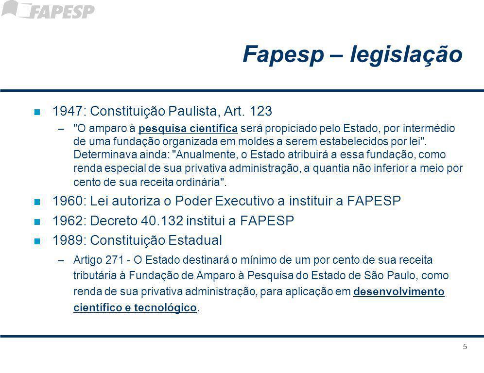 5 Fapesp – legislação n 1947: Constituição Paulista, Art. 123 –