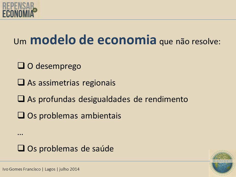 Ivo Gomes Francisco | Lagos | julho 2014 Um modelo de economia que não resolve:  O desemprego  As assimetrias regionais  As profundas desigualdades de rendimento  Os problemas ambientais …  Os problemas de saúde