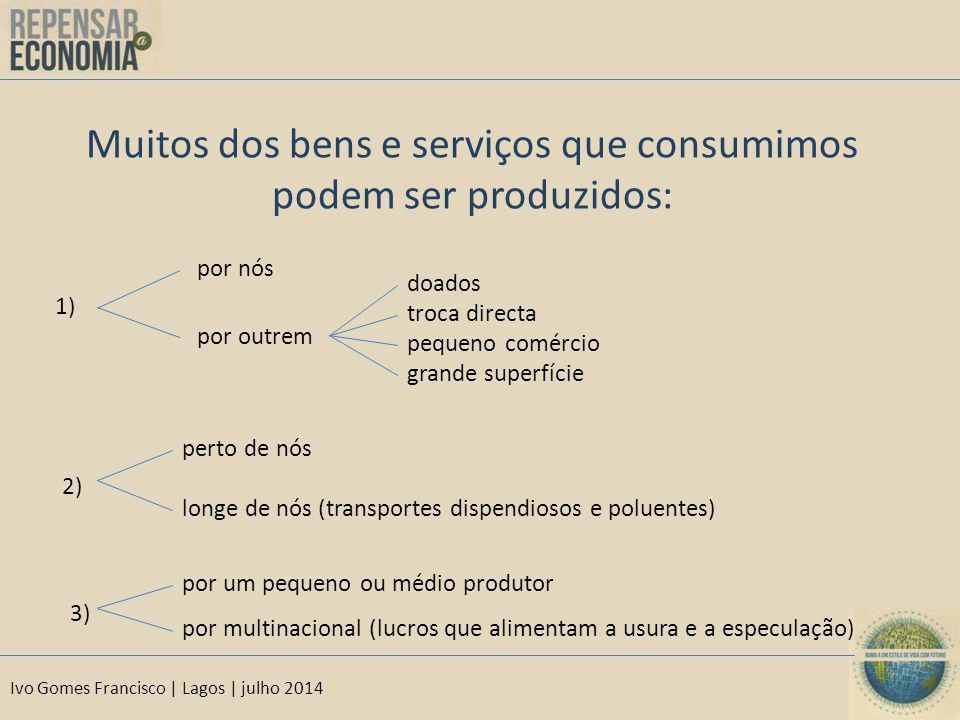 Ivo Gomes Francisco | Lagos | julho 2014 Muitos dos bens e serviços que consumimos podem ser produzidos: 1) por nós por outrem doados troca directa pe