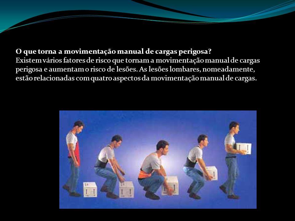 Prof.Sérgio Amaral O que torna a movimentação manual de cargas perigosa.