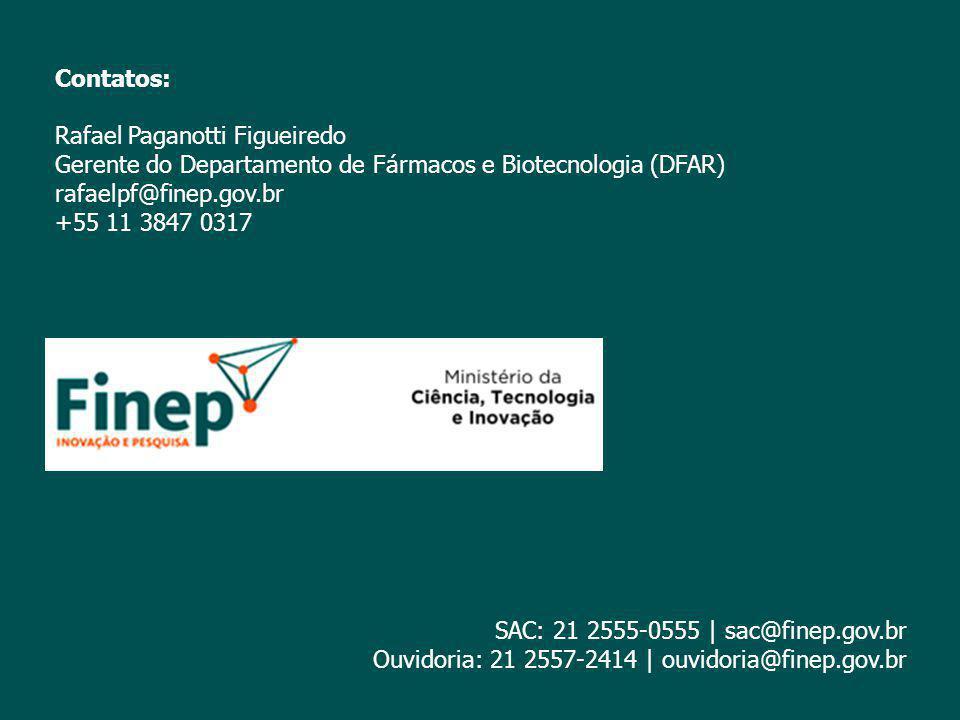 Contatos: Rafael Paganotti Figueiredo Gerente do Departamento de Fármacos e Biotecnologia (DFAR) rafaelpf@finep.gov.br +55 11 3847 0317 SAC: 21 2555-0
