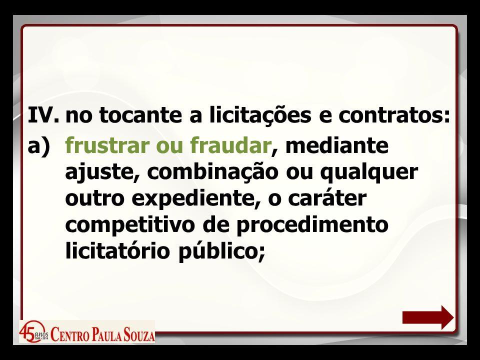 IV.no tocante a licitações e contratos: a)frustrar ou fraudar, mediante ajuste, combinação ou qualquer outro expediente, o caráter competitivo de procedimento licitatório público;