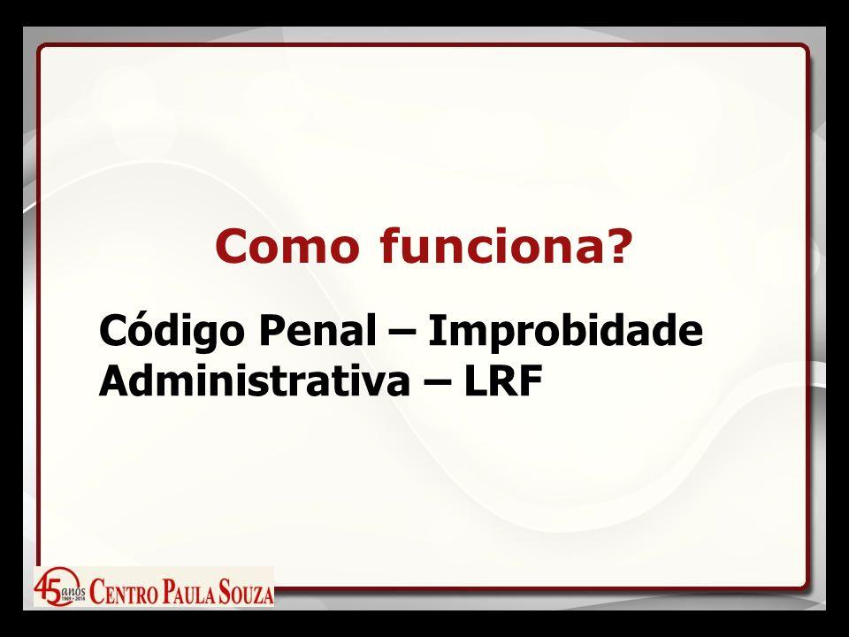 Como funciona? Código Penal – Improbidade Administrativa – LRF