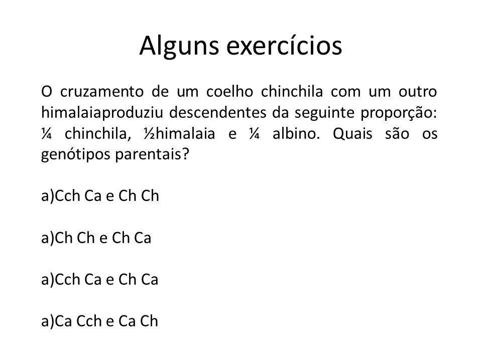 Alguns exercícios O cruzamento de um coelho chinchila com um outro himalaiaproduziu descendentes da seguinte proporção: ¼ chinchila, ½himalaia e ¼ alb