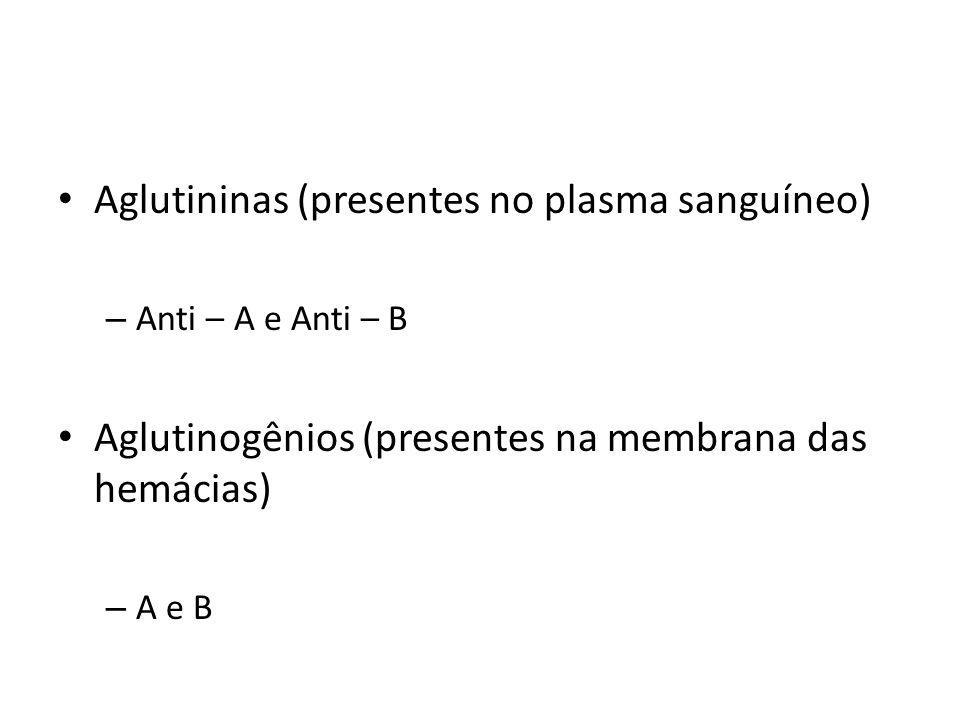 Aglutininas (presentes no plasma sanguíneo) – Anti – A e Anti – B Aglutinogênios (presentes na membrana das hemácias) – A e B
