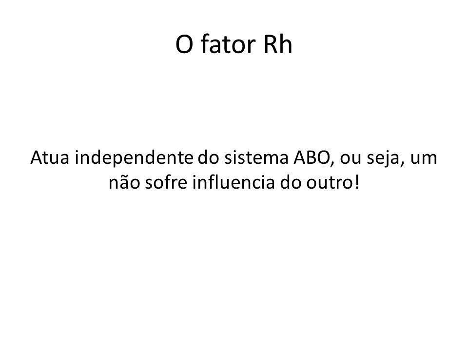 O fator Rh Atua independente do sistema ABO, ou seja, um não sofre influencia do outro!