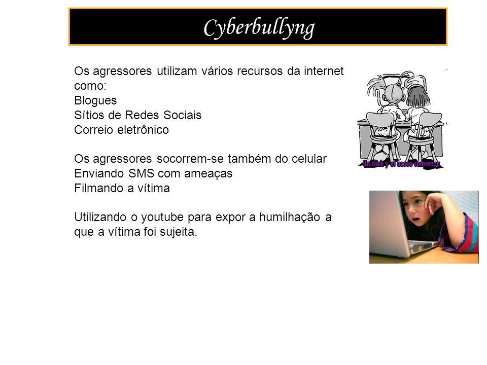 Cyberbullyng Os agressores utilizam vários recursos da internet como: Blogues Sítios de Redes Sociais Correio eletrônico Os agressores socorrem-se tam