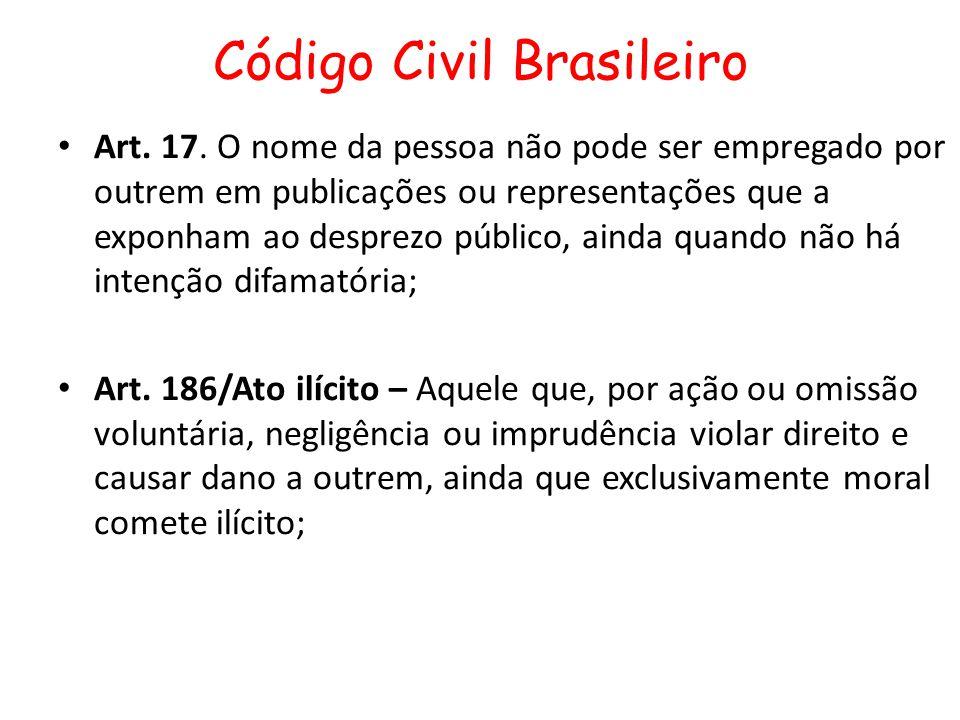Código Civil Brasileiro Art. 17. O nome da pessoa não pode ser empregado por outrem em publicações ou representações que a exponham ao desprezo públic
