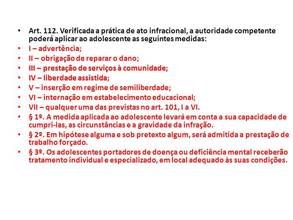 Art. 112. Verificada a prática de ato infracional, a autoridade competente poderá aplicar ao adolescente as seguintes medidas: I – advertência; II – o