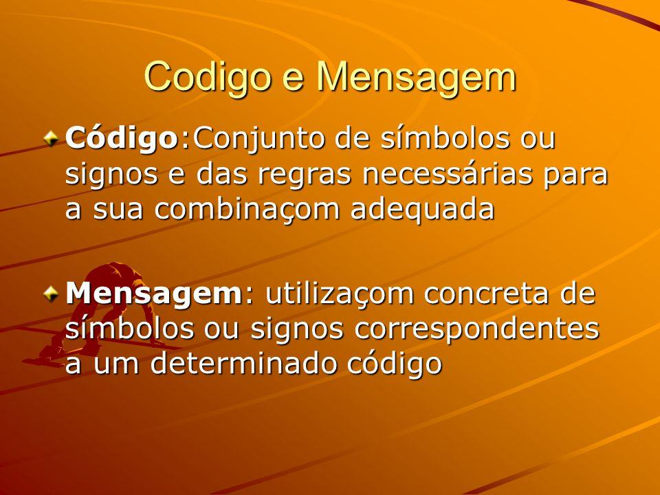 Codigo e Mensagem Código:Conjunto de símbolos ou signos e das regras necessárias para a sua combinaçom adequada Mensagem: utilizaçom concreta de símbolos ou signos correspondentes a um determinado código