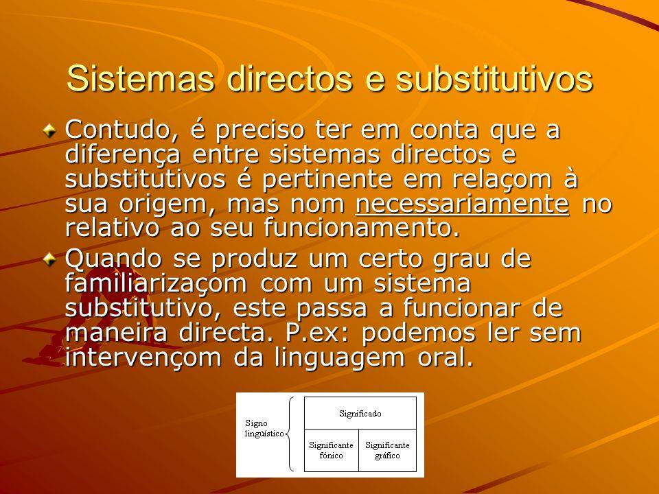 Sistemas directos e substitutivos Contudo, é preciso ter em conta que a diferença entre sistemas directos e substitutivos é pertinente em relaçom à sua origem, mas nom necessariamente no relativo ao seu funcionamento.