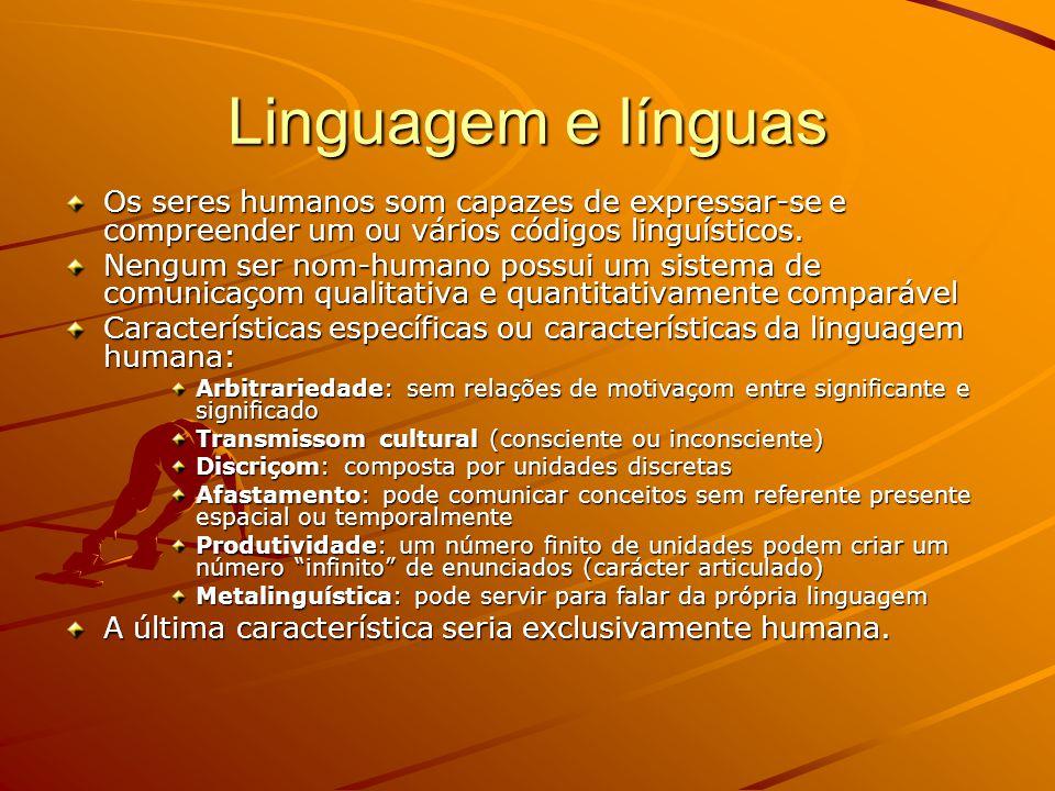 Linguagem e línguas Os seres humanos som capazes de expressar-se e compreender um ou vários códigos linguísticos.