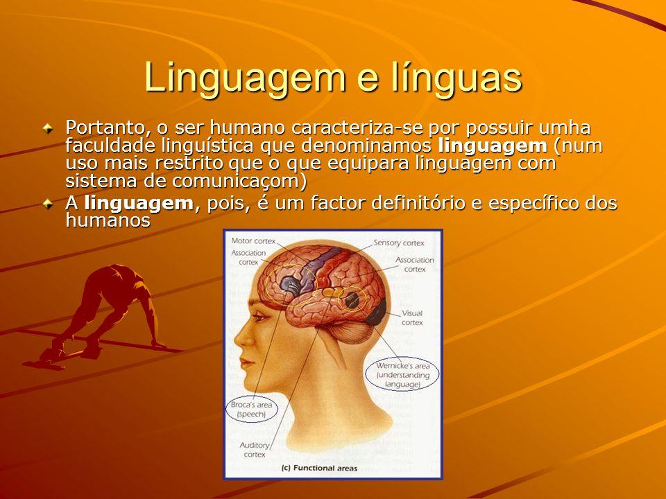 Linguagem e línguas Portanto, o ser humano caracteriza-se por possuir umha faculdade linguística que denominamos linguagem (num uso mais restrito que o que equipara linguagem com sistema de comunicaçom) A linguagem, pois, é um factor definitório e específico dos humanos
