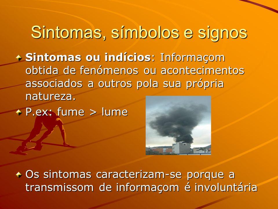 Sintomas, símbolos e signos Sintomas ou indícios: Informaçom obtida de fenómenos ou acontecimentos associados a outros pola sua própria natureza.