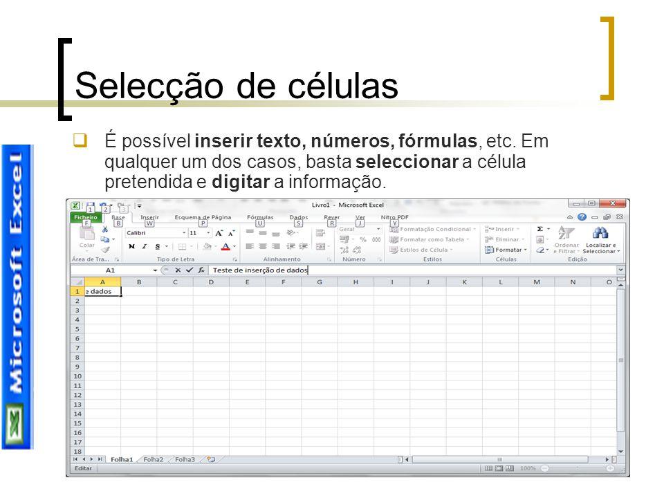 Joana Sousa Selecção de células  É possível inserir texto, números, fórmulas, etc. Em qualquer um dos casos, basta seleccionar a célula pretendida e