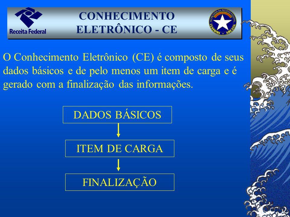 CONHECIMENTO ELETRÔNICO - CE O Conhecimento Eletrônico (CE) é composto de seus dados básicos e de pelo menos um item de carga e é gerado com a finaliz