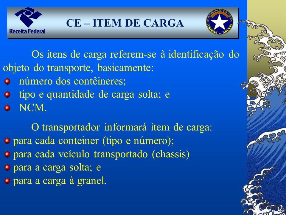 CE – ITEM DE CARGA Os itens de carga referem-se à identificação do objeto do transporte, basicamente: número dos contêineres; tipo e quantidade de car