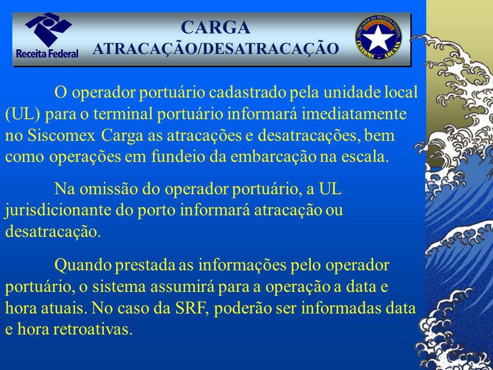CARGA ATRACAÇÃO/DESATRACAÇÃO O operador portuário cadastrado pela unidade local (UL) para o terminal portuário informará imediatamente no Siscomex Car