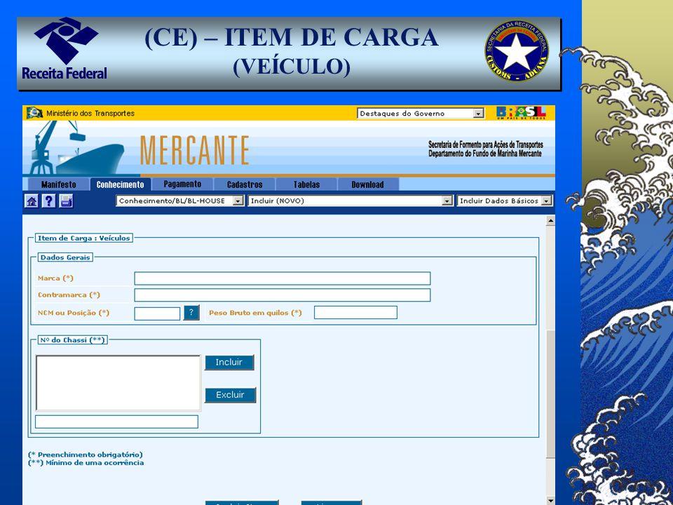 (CE) – ITEM DE CARGA (VEÍCULO)