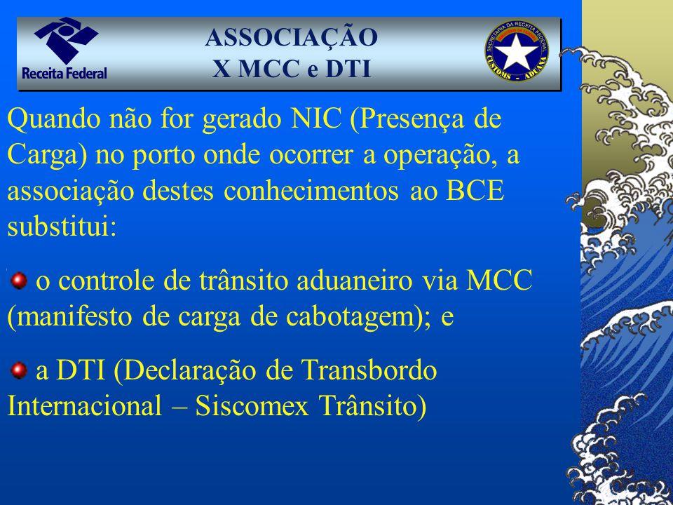 Quando não for gerado NIC (Presença de Carga) no porto onde ocorrer a operação, a associação destes conhecimentos ao BCE substitui: o controle de trân