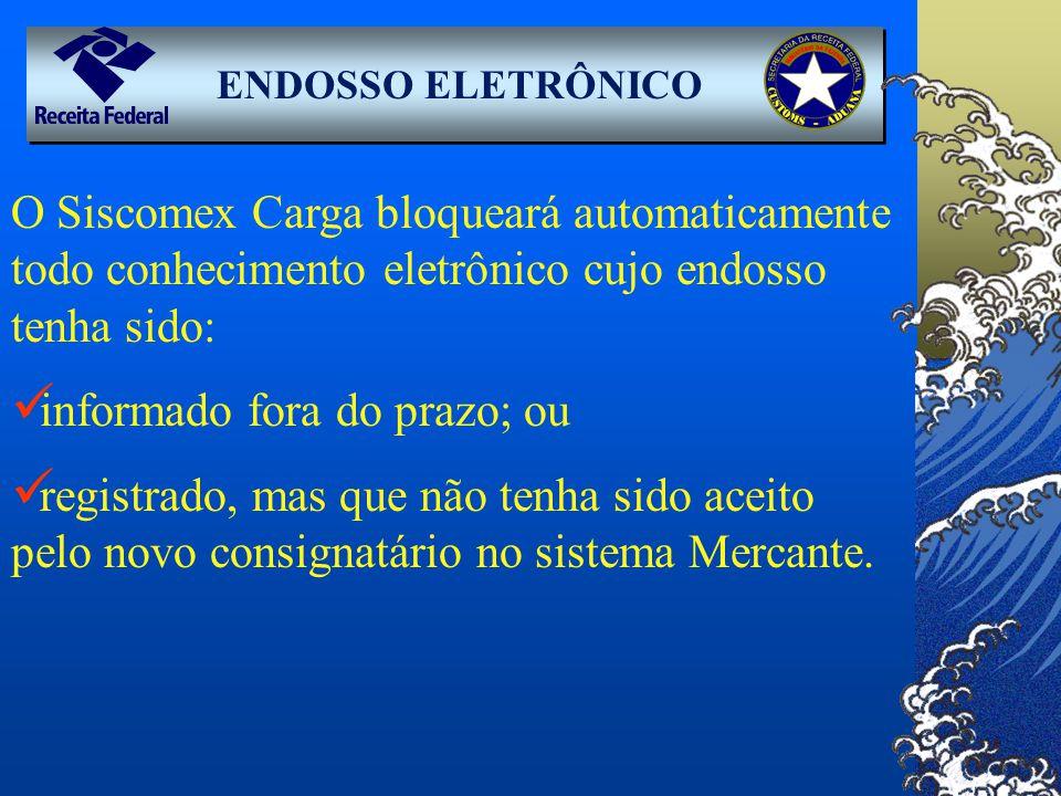 ENDOSSO ELETRÔNICO O Siscomex Carga bloqueará automaticamente todo conhecimento eletrônico cujo endosso tenha sido: informado fora do prazo; ou regist