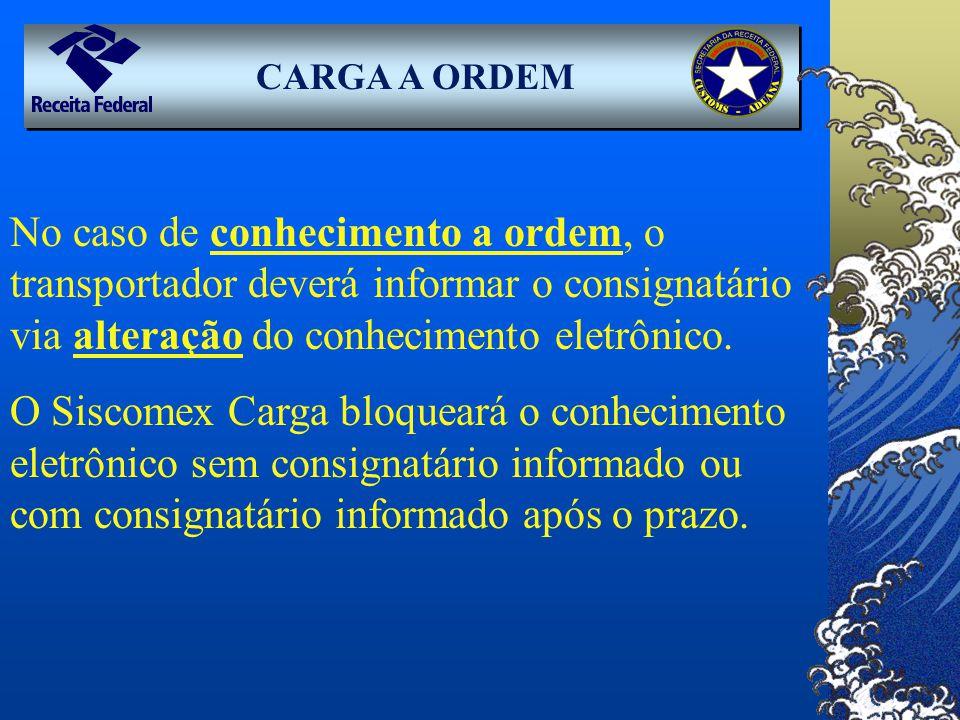 CARGA A ORDEM No caso de conhecimento a ordem, o transportador deverá informar o consignatário via alteração do conhecimento eletrônico. O Siscomex Ca