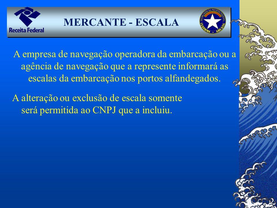 MERCANTE - ESCALA A empresa de navegação operadora da embarcação ou a agência de navegação que a represente informará as escalas da embarcação nos por