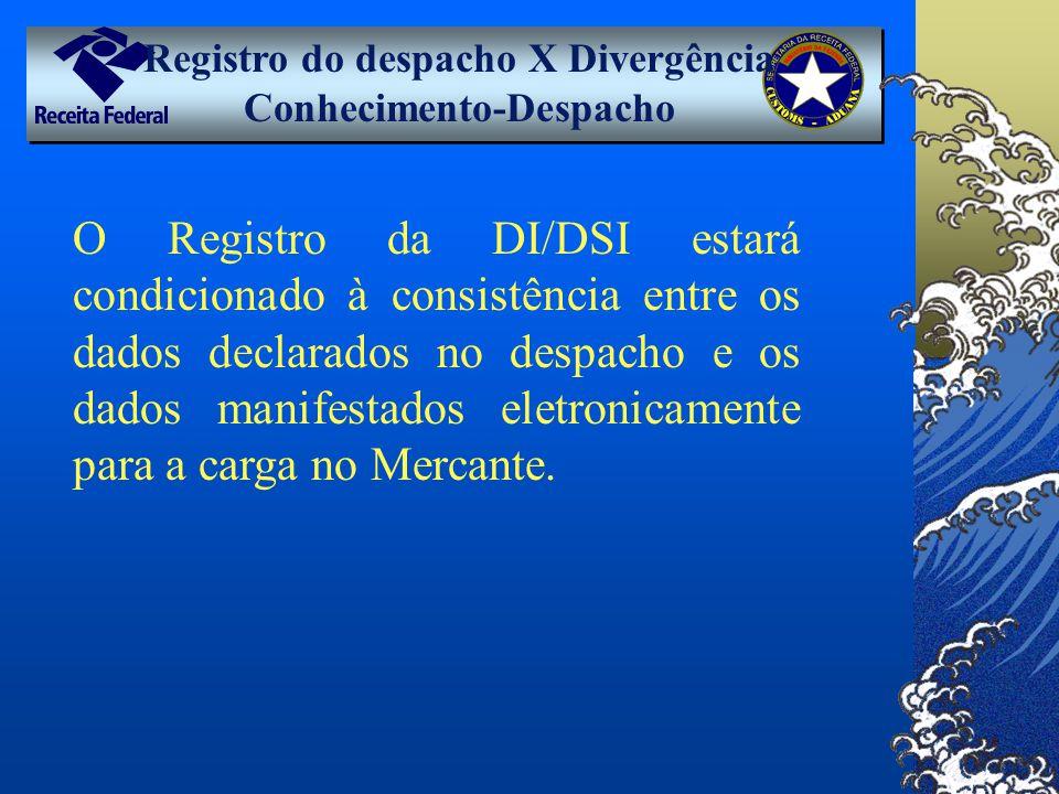 Registro do despacho X Divergência Conhecimento-Despacho O Registro da DI/DSI estará condicionado à consistência entre os dados declarados no despacho