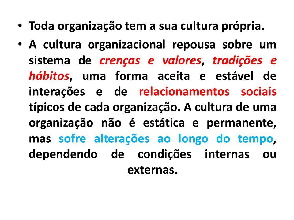 Toda organização tem a sua cultura própria. A cultura organizacional repousa sobre um sistema de crenças e valores, tradições e hábitos, uma forma ace