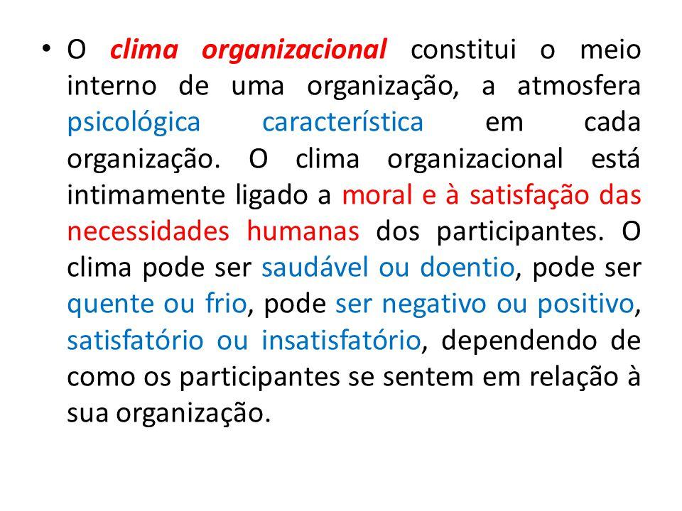 O clima organizacional constitui o meio interno de uma organização, a atmosfera psicológica característica em cada organização. O clima organizacional