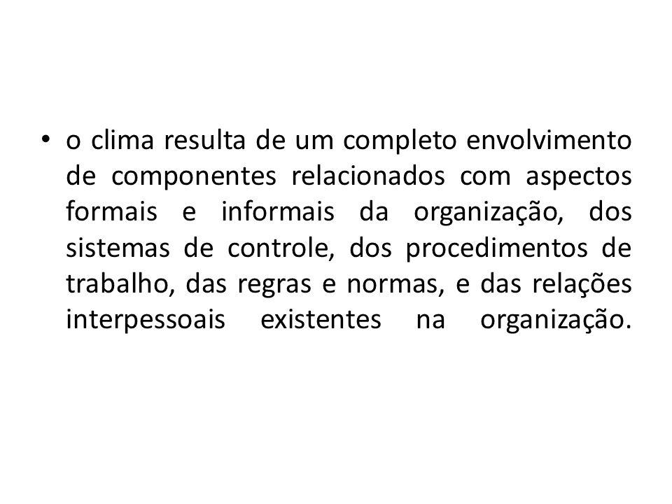 o clima resulta de um completo envolvimento de componentes relacionados com aspectos formais e informais da organização, dos sistemas de controle, dos