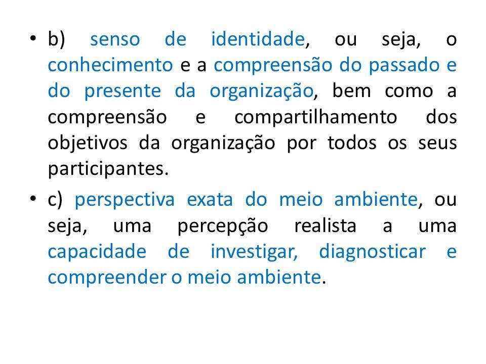 b) senso de identidade, ou seja, o conhecimento e a compreensão do passado e do presente da organização, bem como a compreensão e compartilhamento dos