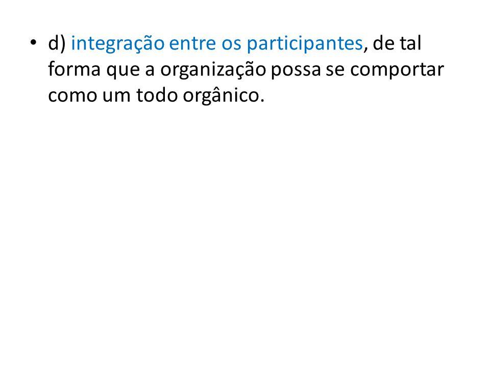 d) integração entre os participantes, de tal forma que a organização possa se comportar como um todo orgânico.