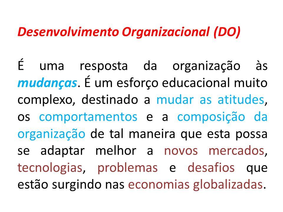 Desenvolvimento Organizacional (DO) É uma resposta da organização às mudanças. É um esforço educacional muito complexo, destinado a mudar as atitudes,