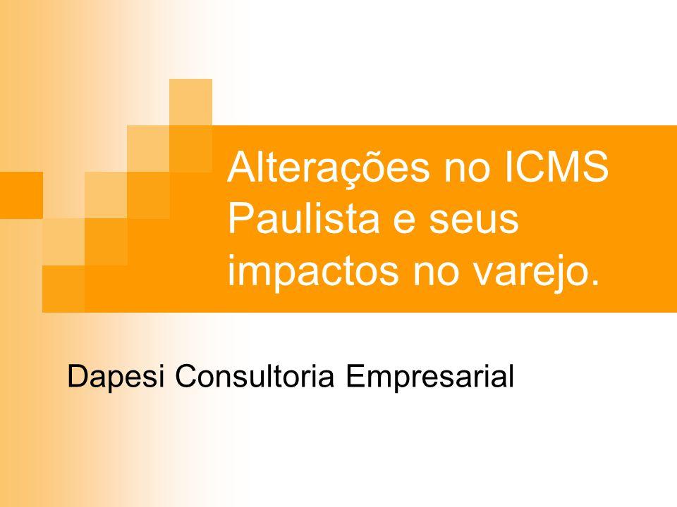 Alterações no ICMS Paulista e seus impactos no varejo. Dapesi Consultoria Empresarial