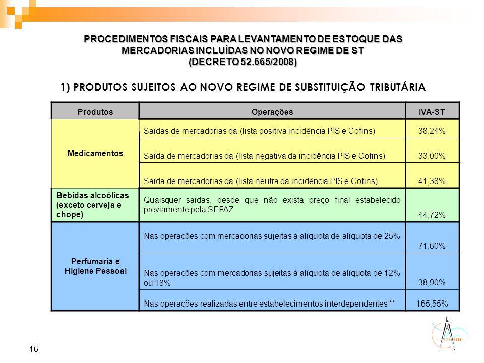 16 PROCEDIMENTOS FISCAIS PARA LEVANTAMENTO DE ESTOQUE DAS MERCADORIAS INCLUÍDAS NO NOVO REGIME DE ST (DECRETO 52.665/2008) 1) PRODUTOS SUJEITOS AO NOV