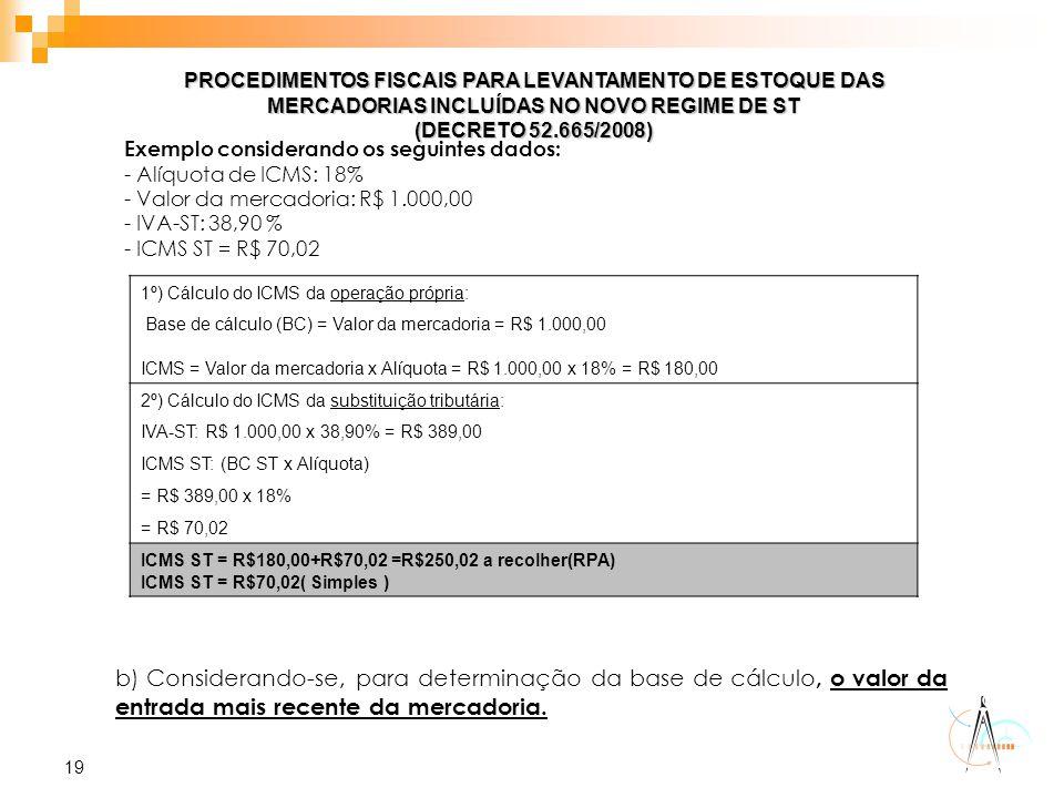 19 PROCEDIMENTOS FISCAIS PARA LEVANTAMENTO DE ESTOQUE DAS MERCADORIAS INCLUÍDAS NO NOVO REGIME DE ST (DECRETO 52.665/2008) Exemplo considerando os seg