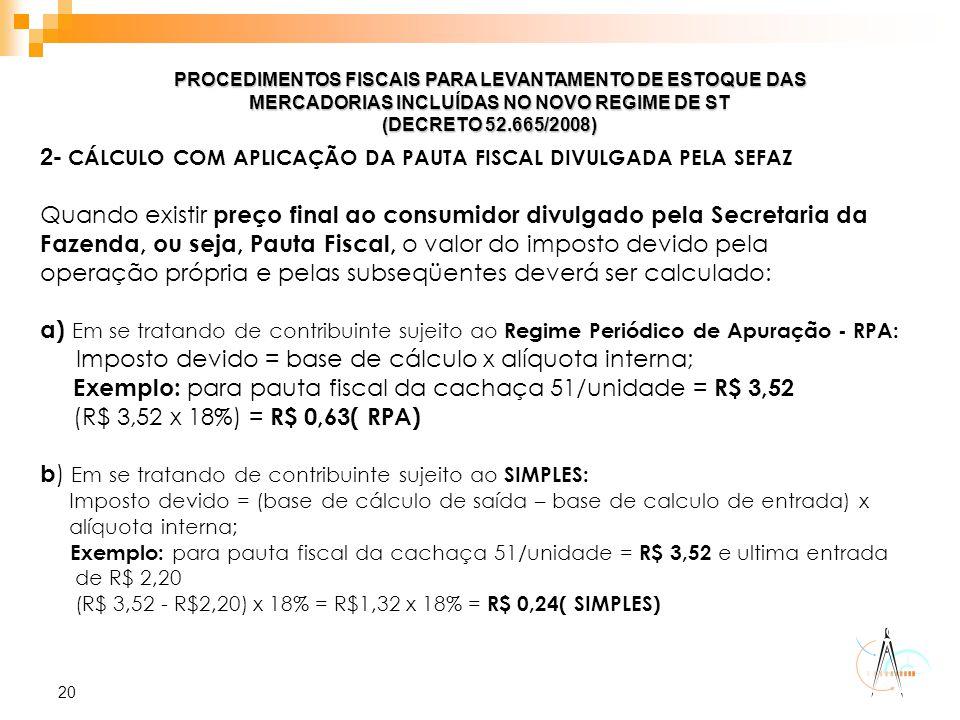20 PROCEDIMENTOS FISCAIS PARA LEVANTAMENTO DE ESTOQUE DAS MERCADORIAS INCLUÍDAS NO NOVO REGIME DE ST (DECRETO 52.665/2008) 2- CÁLCULO COM APLICAÇÃO DA