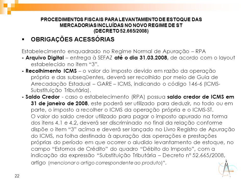 22 PROCEDIMENTOS FISCAIS PARA LEVANTAMENTO DE ESTOQUE DAS MERCADORIAS INCLUÍDAS NO NOVO REGIME DE ST (DECRETO 52.665/2008)  OBRIGAÇÕES ACESSÓRIAS Est